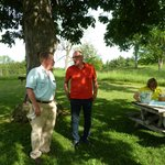 A break and a snack with tour guide, George Landis (in red)