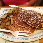 Best Blueberry Pancakes & homefries, ham, baked beans EVER!