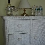 wardrobe with complimentary wine and bottled water in Master bdrm