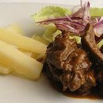 Fresh, delicate steak with french fries