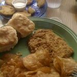 chicken fried steak and homemade chips and fried green tomatoes