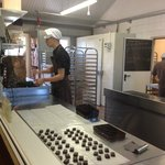 It's possible to view the chocolate makers in the kitchen right there in the store