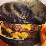 double cheese burger with dark choc bun