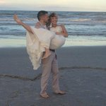 Happy newlyweds on beautiful jacksonville beach