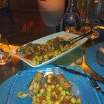gnocchetti con canocchie melanzane e pomodorini