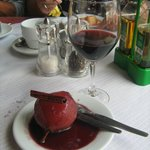 Poached pears in red wine and cinammon with more Red Wine !!