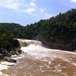 Below the falls.