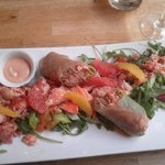 Lobster Salad 28$ and so worth it! with fennel, roquette, orange, grapefruit, spring roll. mmmm