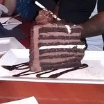 Many layers, chocolate cake