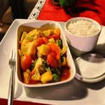 Delicious sweet & sour vegetables with rice.
