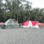Our tents on the beach