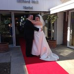 Arrivng to red carpet treatment at the Milford Hall hotel