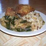 Fried Chicken Dinner w/ Steamed Cabbage and Chicken & Rice