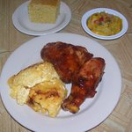 Bbq Chicken Dinner w/ Mac and Cheese & Steamed Yellow Squash and Cornbread