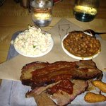 Sliced beef brisket dinner, w/ baked beans, mac salad & three hush pups