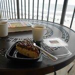Heath Bar cheesecake on our balcony