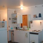Kitchen with Frig, Range, Sink, Dishes & more