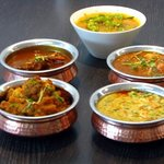 Selection of curries.