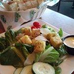 Side salad and bread basket