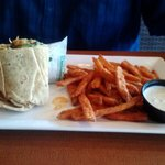 Buffalo Chicken Wrap and Sweet Potato Fries