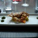 Starter course: Tempura softshell crab with giardeniera and ramp puree