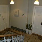 """Hotel """"lobby"""" is on the left..  My room (#4) was behind the double doors on the right."""