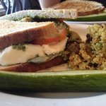 The Curious Palate Caprese Sandwich with Marinated Artichokes and Quinoa Salad