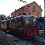 Tramway du Mont Blanc departing Saint Gervais les Bains station