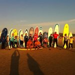 family surfing day