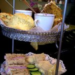 Sandwiches, scones and cake
