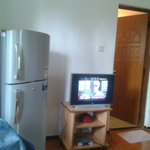 Living Room with fridge and TV