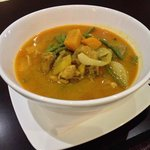 food made on cookery course (yellow chicken curry - main course)