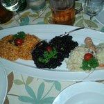 Tris di risotti (frutti di mare, nero di seppia, scampi)