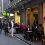Equitable Place Hotel Entrance And Laneway Cafes