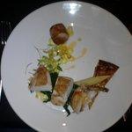 Pan seared free range chicken breast, chicken leg stuffed with Irish chorizo...
