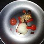 Valhrona white chocolate mousse, poached rhubarb...