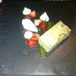 Basil sponge cake, macerated strawberries, clotted cream...