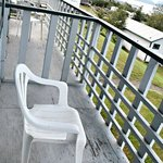 Deck, paint peeling, view to left