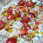 Lobster Flatbread with Chive Goat Cheese, Roasted Corn, Cherry Tomatoes
