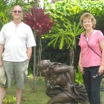 Here we are by the Hawaiian Mahina dancer