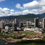 view from hotel of volcanic ridge