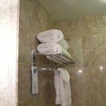 Towel rack in bathroom
