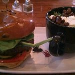 Tom's burger w/ blueberry jam, goat cheese, and pickles and side salad