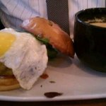 Tom's burger with a fried egg, torreados, and cheddar cheese and tomato bisque soup