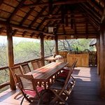 the deck facing  the savannah