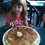 Enjoying the chocolate chip pancake