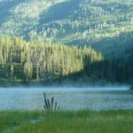 View over copper lake in the morning
