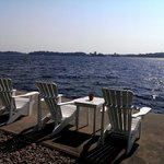 Muskoka chairs on the waterfront