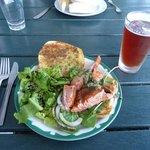 Grilled King salmon sandwich