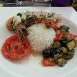 gambas et petits légumes